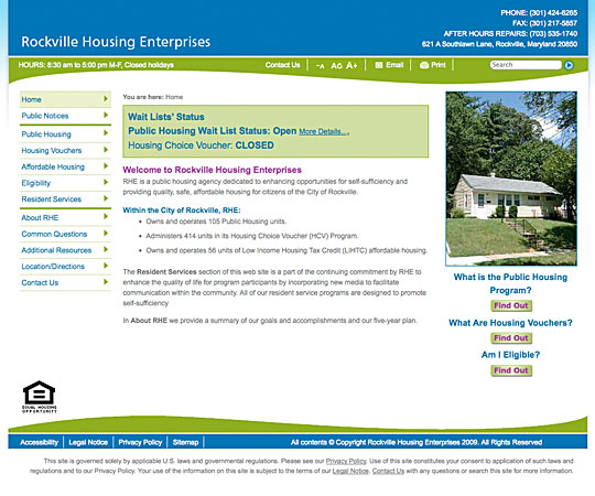 Rockville Housing Enterprises Web Site